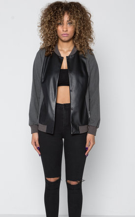 Tailored wool and faux leather mix bomber jacket by Quillattire