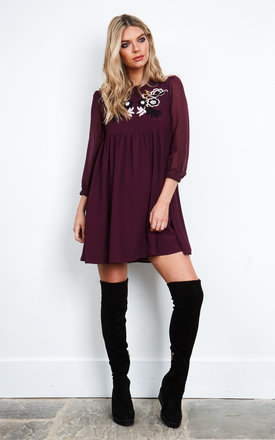 Burgundy Embroidered 3/4 Sleeve Dress by Glamorous Product photo