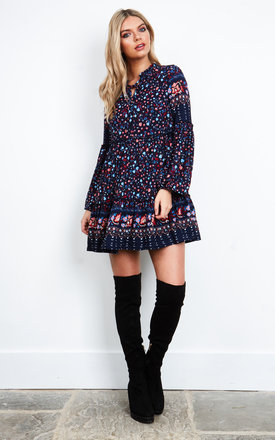 Navy Ditsy Pint Swing Dress by Glamorous