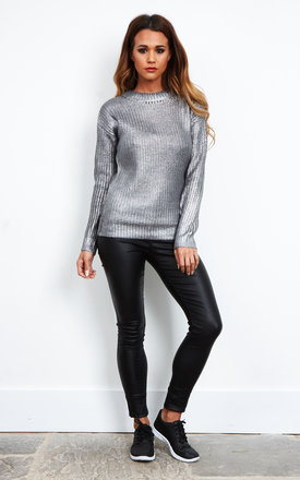 Dark Silver Long Sleeved Knitted Jumper by Glamorous