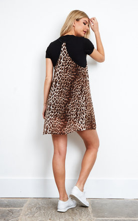 Leopard Slip With Black Tee Dress by The Ragged Priest