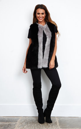 Ryanna Colour Block Faux Fur Gilet by Faux England