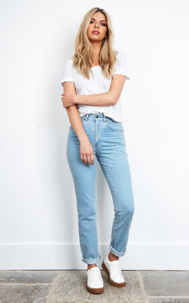 Blue Mom Jeans With Panther Patches by The Ragged Priest
