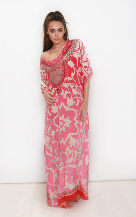 Adriana Pink Printed Maxi Kaftan by Kitten Beachwear Product photo