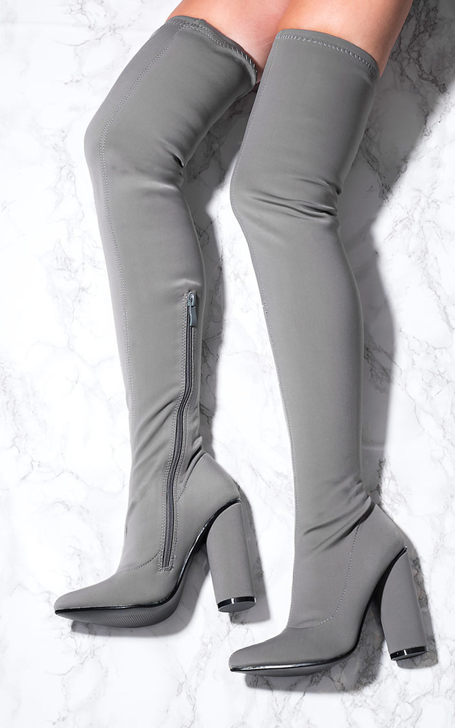 TAMARA Pointed Toe Cylinder Heel Over Knee Tall Boots - Grey Lycra by SpyLoveBuy