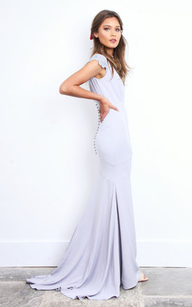 Grey Buttoned Back Maxi Dress with Lace Sleeve by Jarlo