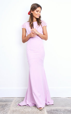 Lilac Fishtail Buttoned Back Maxi Dress With Lace Sleeve by Jarlo Product photo