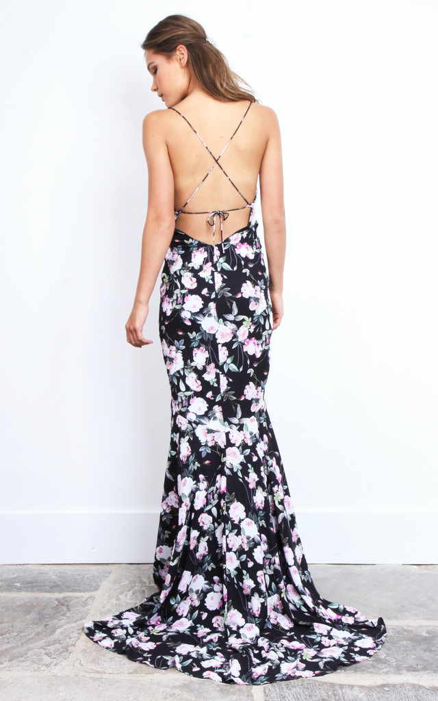 Black Floral Tie Back Maxi Dress by Jarlo