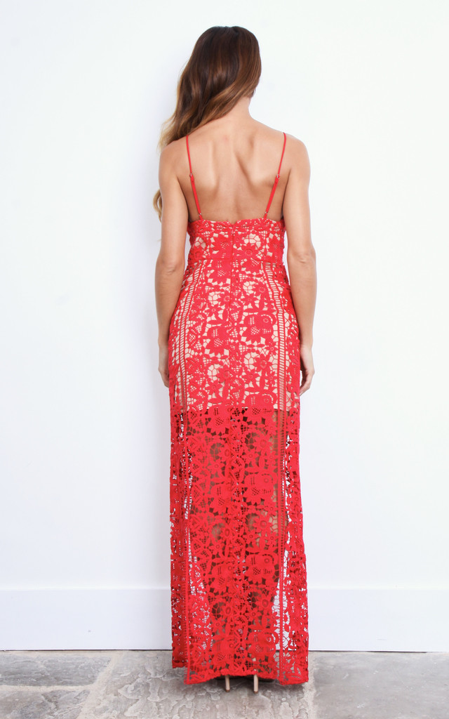Red Double Split Lace Maxi Dress by Jarlo