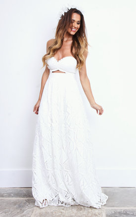 Strapless Key Hole Detailed Ivory Lace Maxi Dress by Jarlo