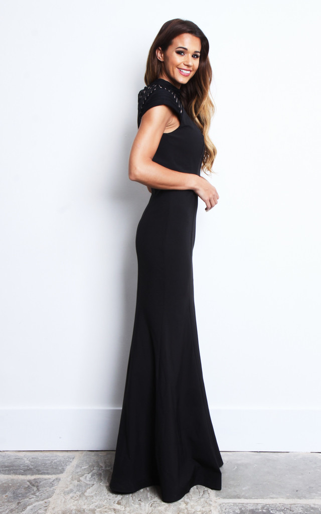 Key Hole Back Black Mesh Maxi Dress by Jarlo