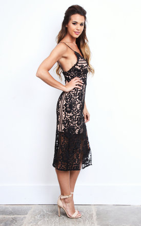 Black and Nude Lace Double Split Dress by Jarlo