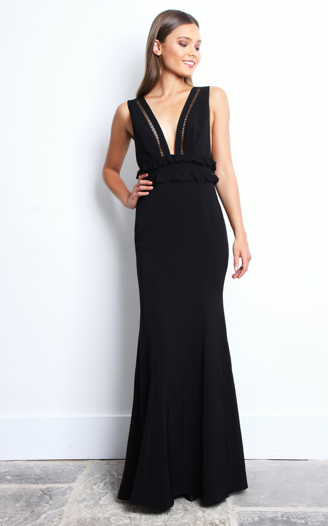 V Neck Black Maxi Dress Jarlo Silkfred