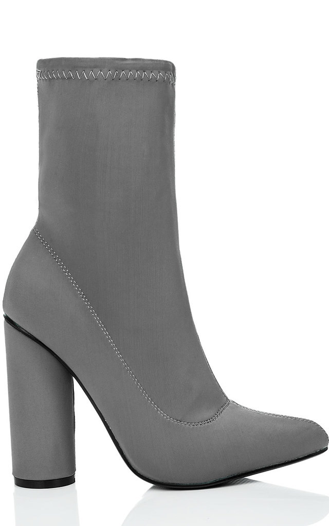 SCIRICA Pointed Toe Cylinder Heel Ankle Boots Shoes - Grey Lycra by SpyLoveBuy