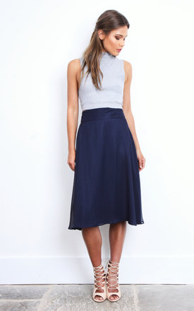 Emila Midi Skirt in Navy by TwentyFour Fashion