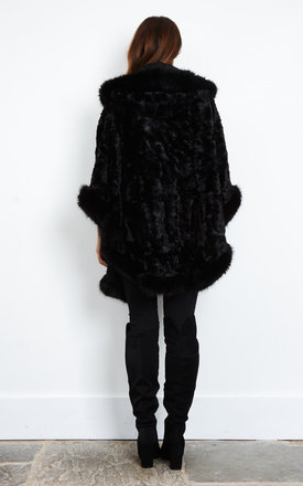 Eton Faux Fur Trimmed Cape by Faux England