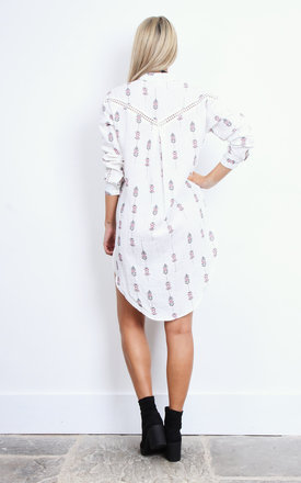Lace Trim Printed Shirt by Moon River