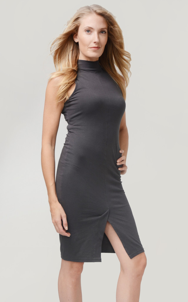 Buckle Back Choker dress – Charcoal by So & Jo Boutique