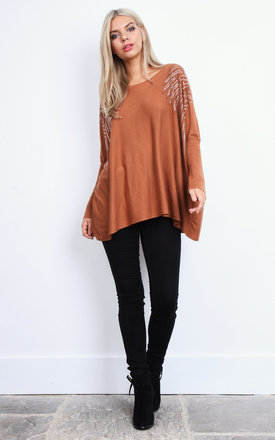 Rust Diamante Shoulder Swing Top by Lilah Rose
