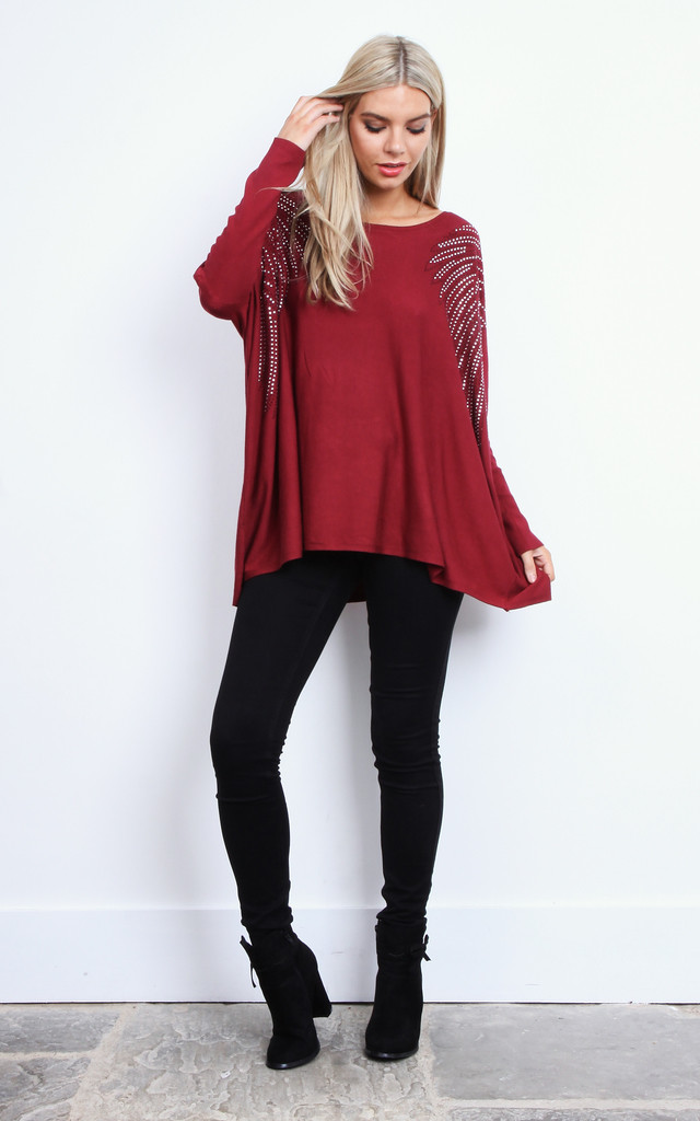 Wine Diamante Shoulder Swing Top by Bella and Blue