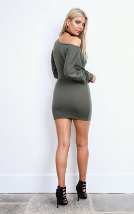 Khaki Ponte Off Shoulder Dress by Lilah Rose