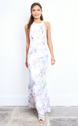 Kalena White Floral Low Back Maxi Dress by Jarlo Product photo
