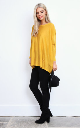 Mustard Lurex Baggy Fine Knit Jumper by Lilah Rose