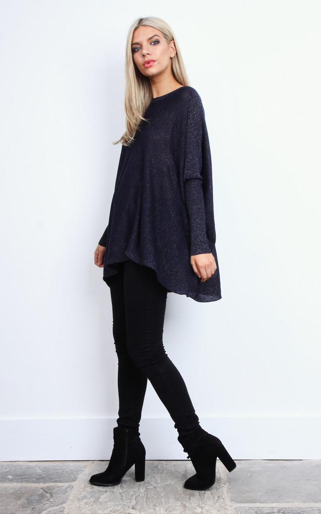 Navy Lurex Baggy Fine Knit Jumper by Lilah Rose