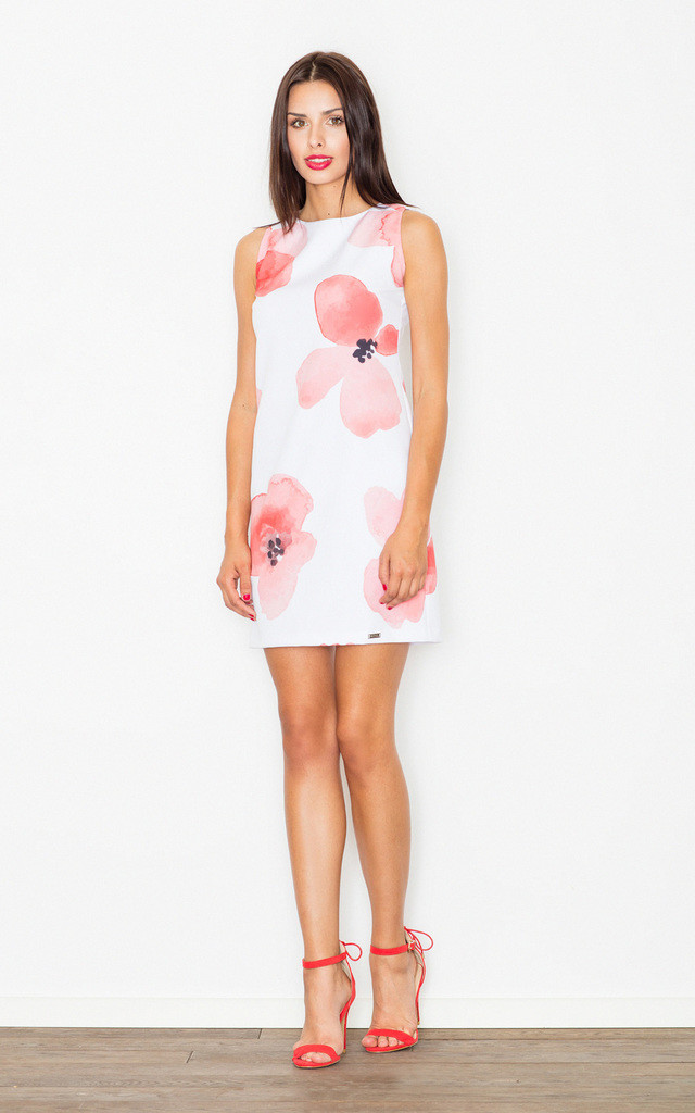Sleeveless Mini Dress in Pink/White Floral Print by FIGL