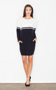 Mini jumper dress with pockets in monochrome by FIGL