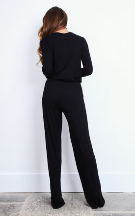 Black long sleeved Jumpsuit by so.Nife