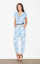 Blue Print dots belted jumpsuit by FIGL
