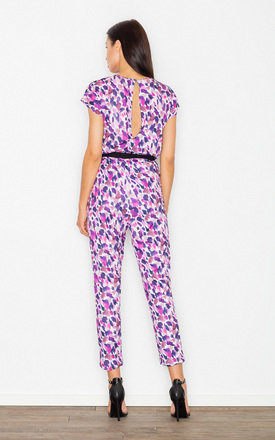 Purple dots belted jumpsuit by FIGL