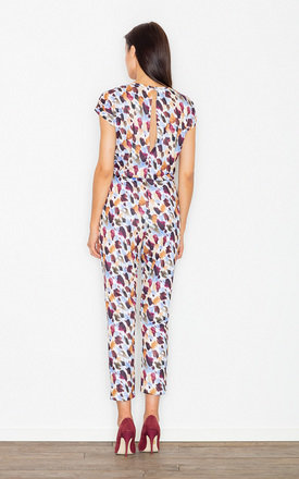 Multicoloured Print dot belted jumpsuit by FIGL