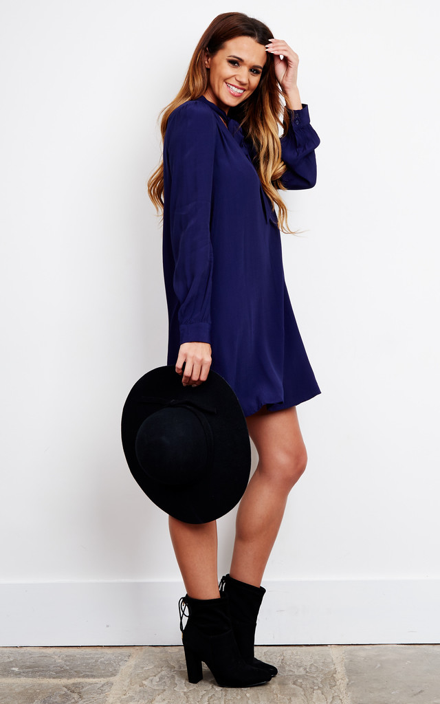 Long Sleeve Navy Geometric With Tie Neck by ASTR