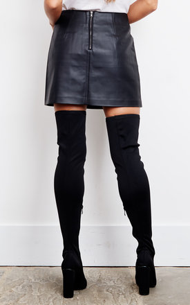 Black Faux Leather Mini Skirt by J.O.A