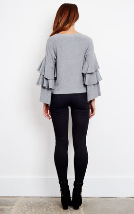 Grey Layered Bell Sleeve Jumper by Bella and Blue