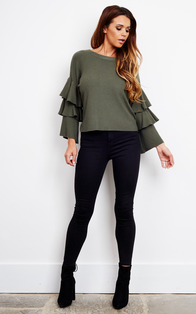 Khaki Layered Bell Sleeve Jumper by Bella and Blue