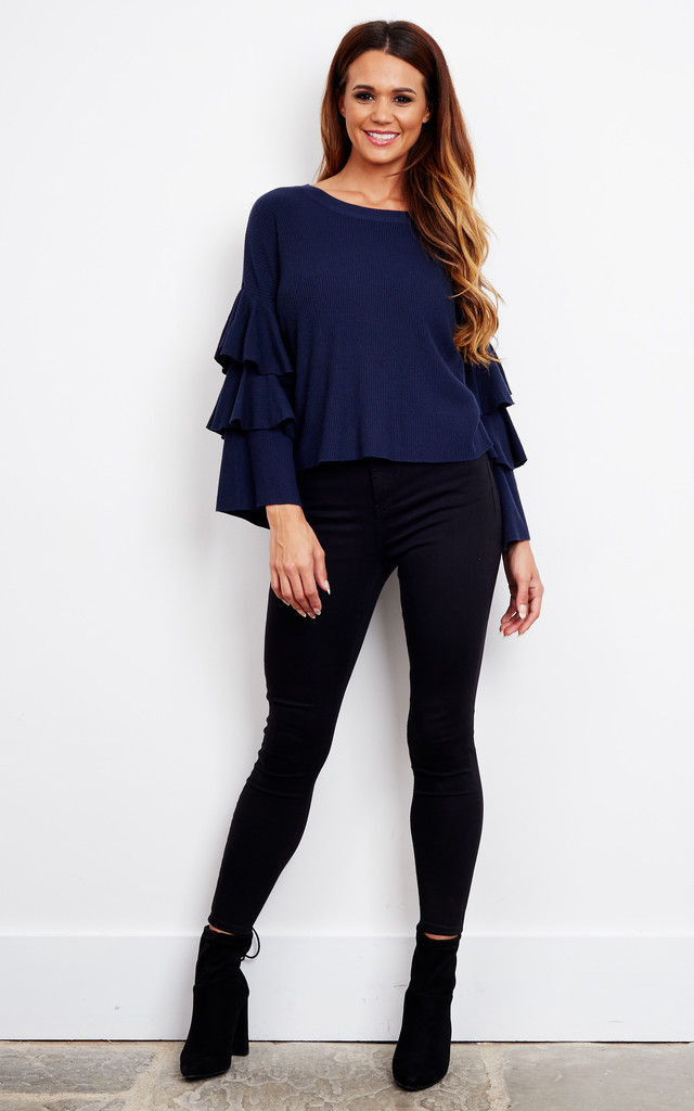 Navy Layered Bell Sleeve Jumper by Bella and Blue