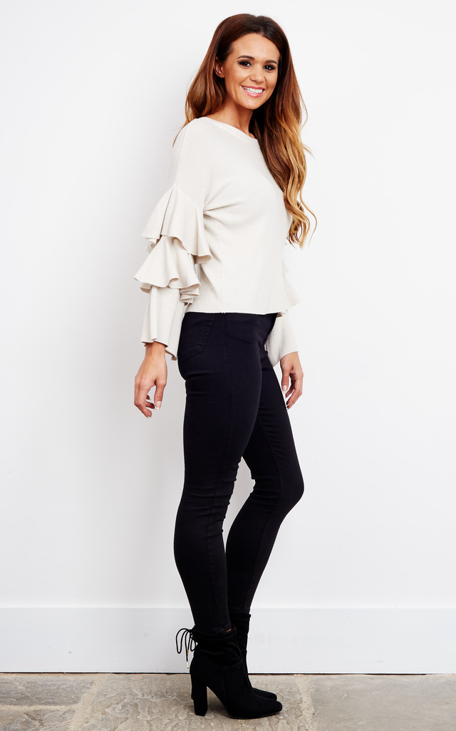 Beige Layered Bell Sleeve Jumper by Bella and Blue