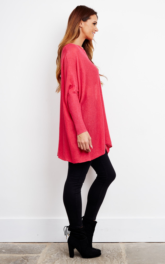 Pink Lurex Baggy Fine Knit Jumper by Bella and Blue