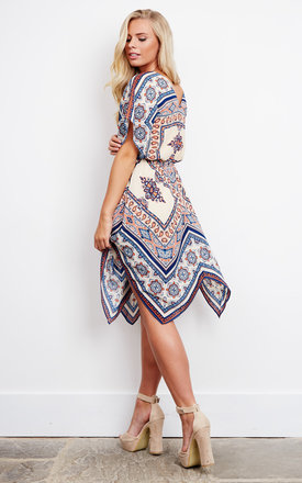 Scarf Printed V-Neck Handkerchief Hem Dress by Moon River