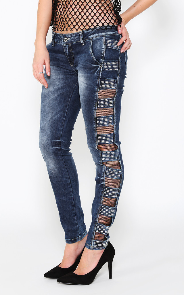 Encrusted & Mesh Panels Details Jeans by Jezzelle