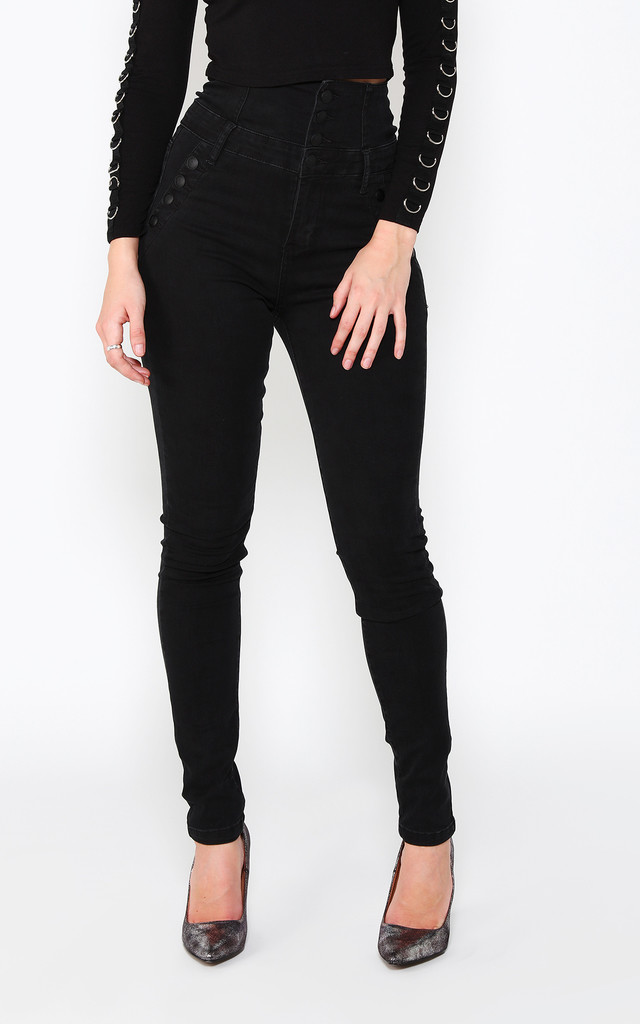Super High Waisted Black Jeans by Jezzelle