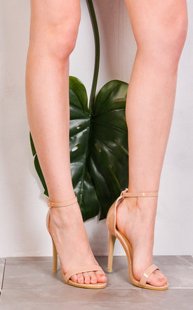 Strapped Barely There Heeled Sandals Patent Nude by LILY LULU FASHION