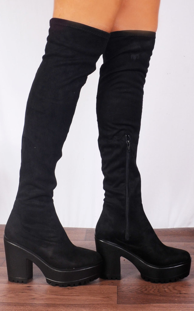 Black MicroFibre Over the Knee Cleated Platforms Boots by Shoe Closet