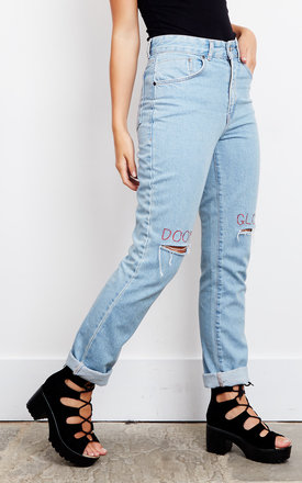 Blue Doom Gloom Embroidered Jeans by The Ragged Priest