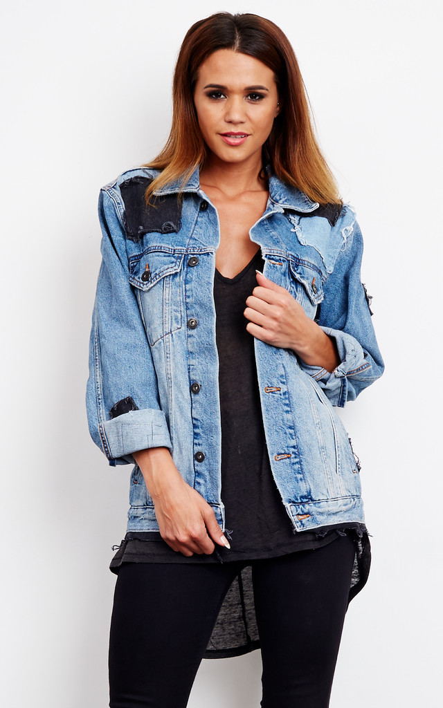 Blue Denim Patched Denim Jacket by The Ragged Priest