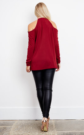 Wine V Neck Cold Shoulder Top With Gold Hoop Collar by John Zack
