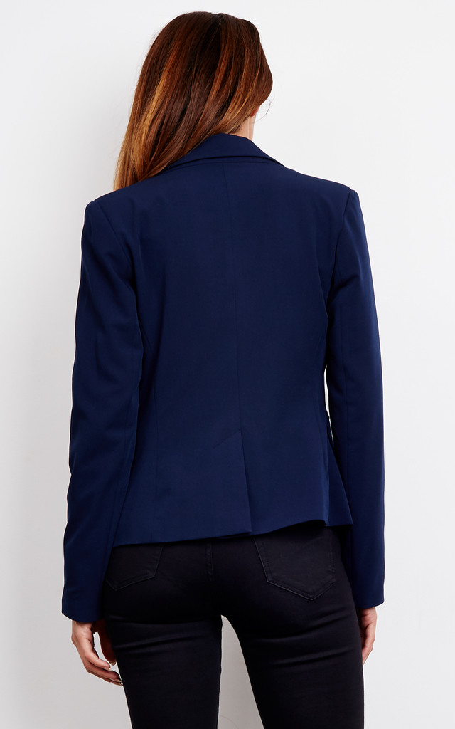 Navy classic short jacket by so.Nife